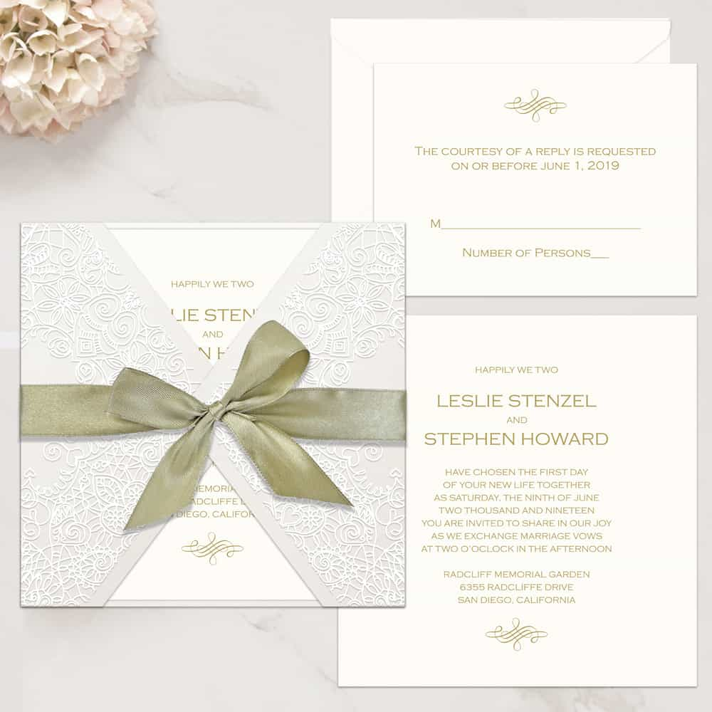 Regina Craft Graceful Lace Wedding Invitation