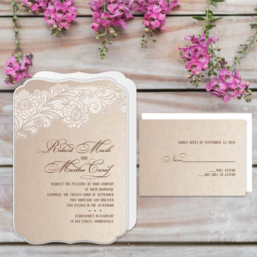 Regina Craft Lacy Detail Die Cut Wedding Invitation
