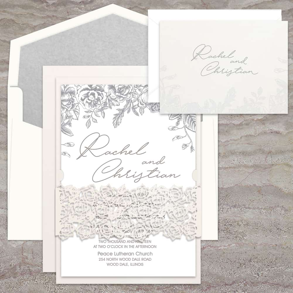 Regina Craft Laser Cut Belly Band Wedding Invitation