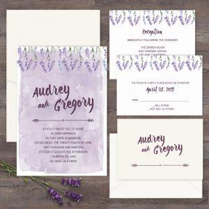 Regina Craft Lavender Watercolor Wedding Invitation