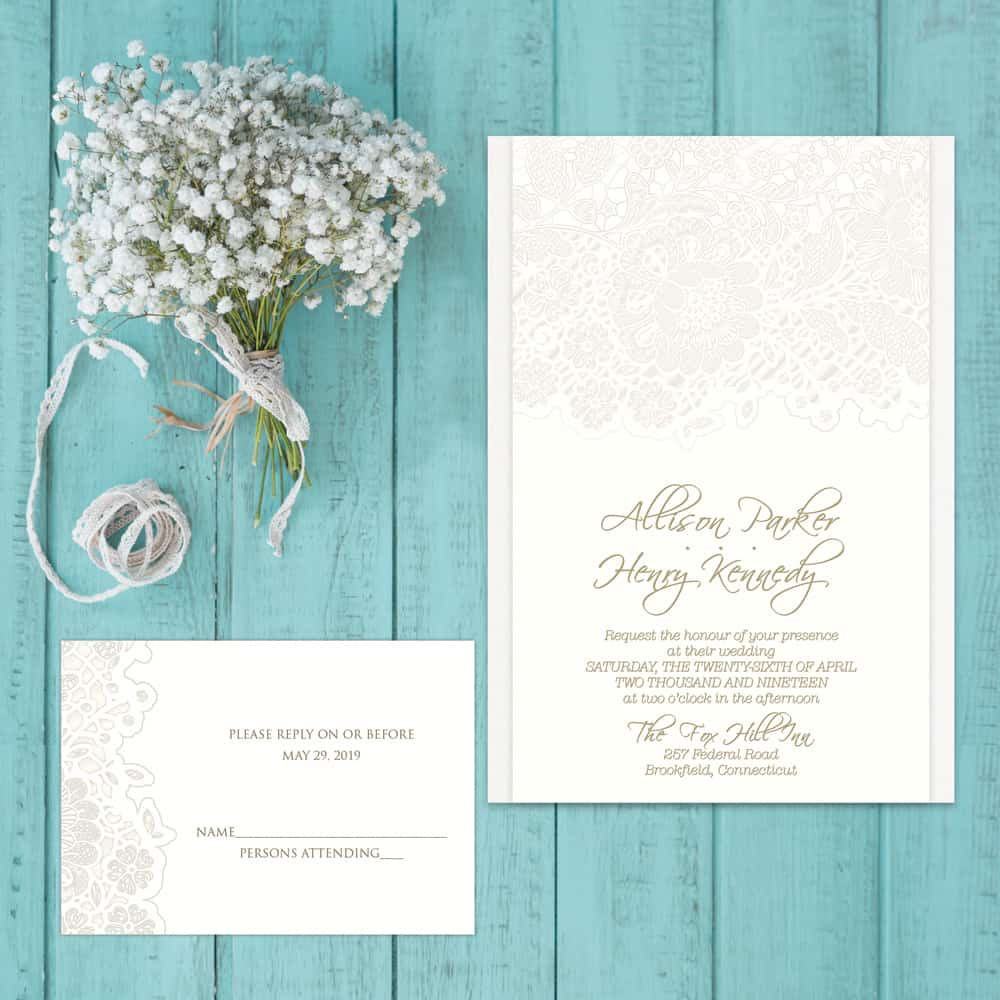 Regina Craft Mechlin Lace Wedding Invitation