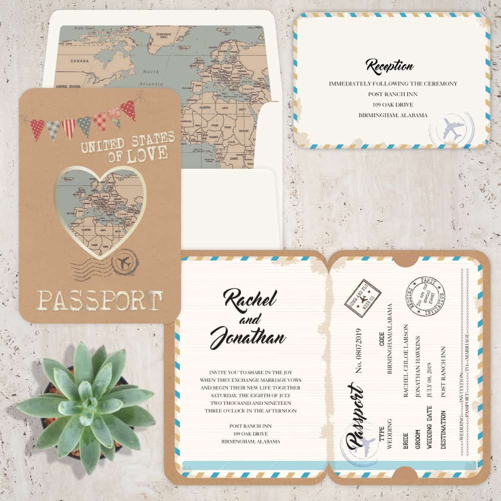 Regina Craft Passport of Love Wedding Invitation
