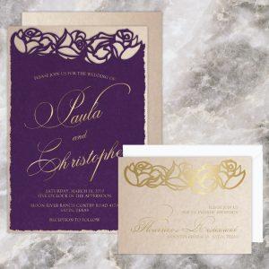 Regina Craft Plum Velvet Laser Cut Wedding Invitation