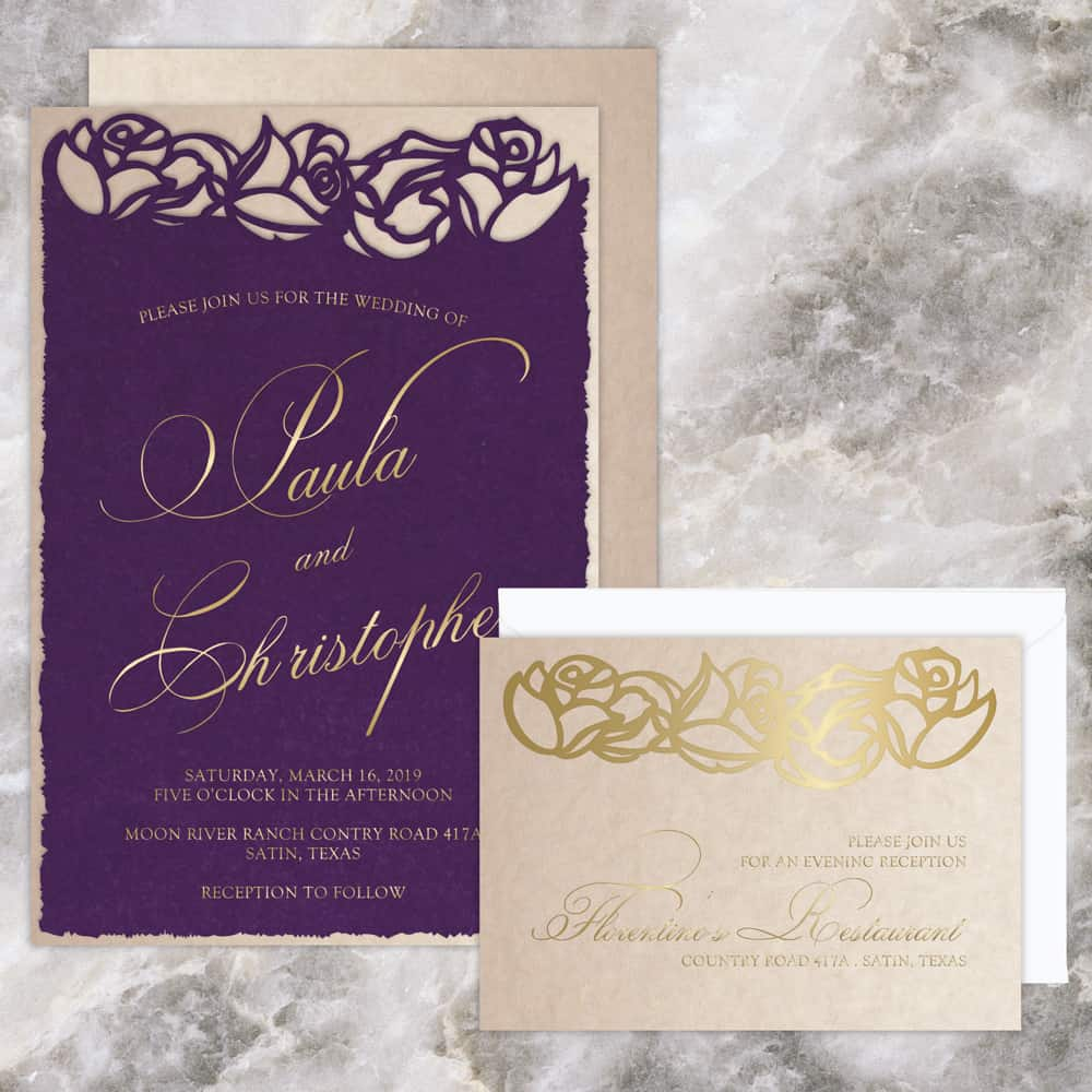 Regina Craft Plum Velvet Laser Cut Wedding Invitation