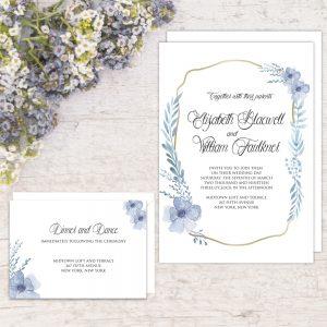 Regina Craft Poetic Blue Wedding Invitation