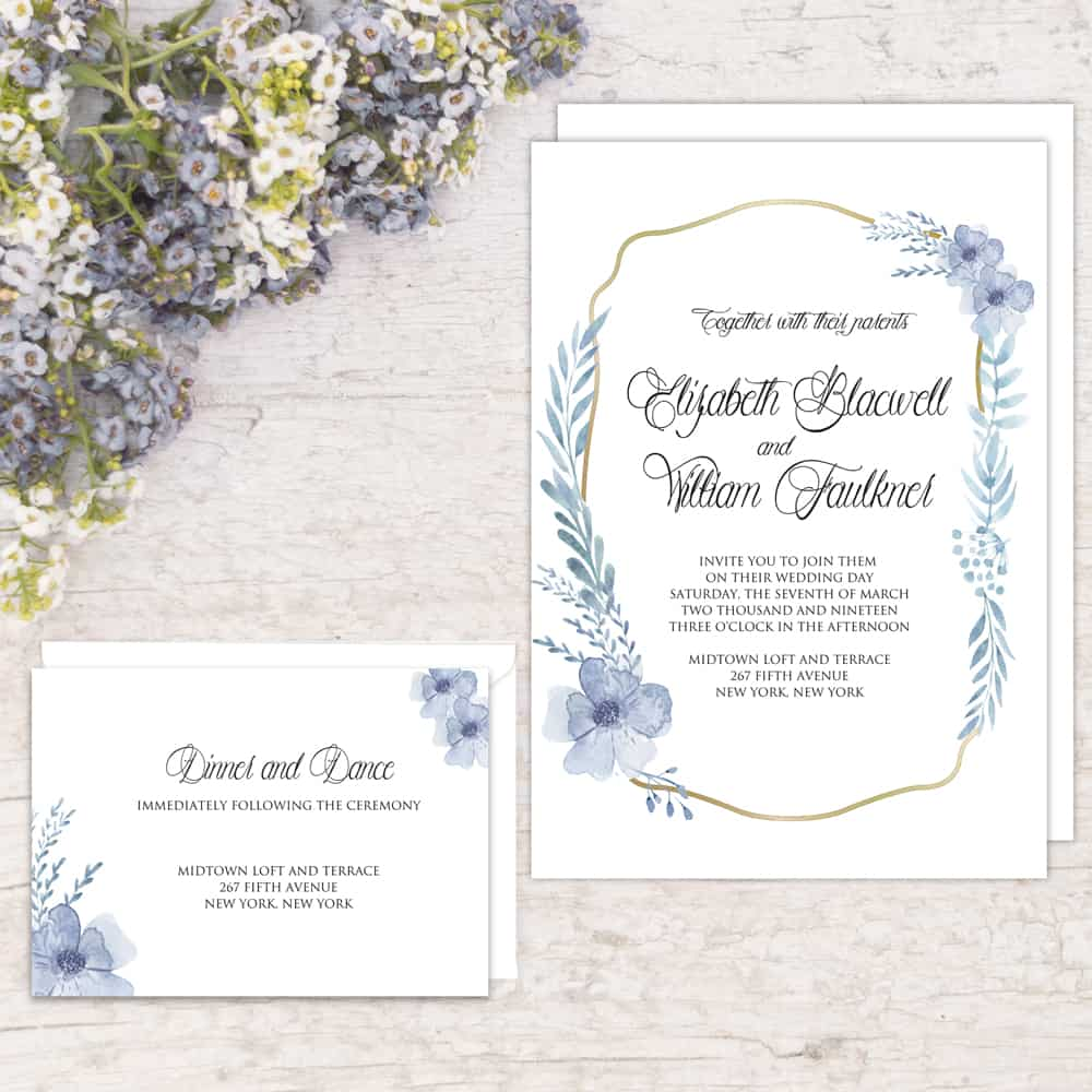 Regina Craft Poetic Blue Wedding Invitation