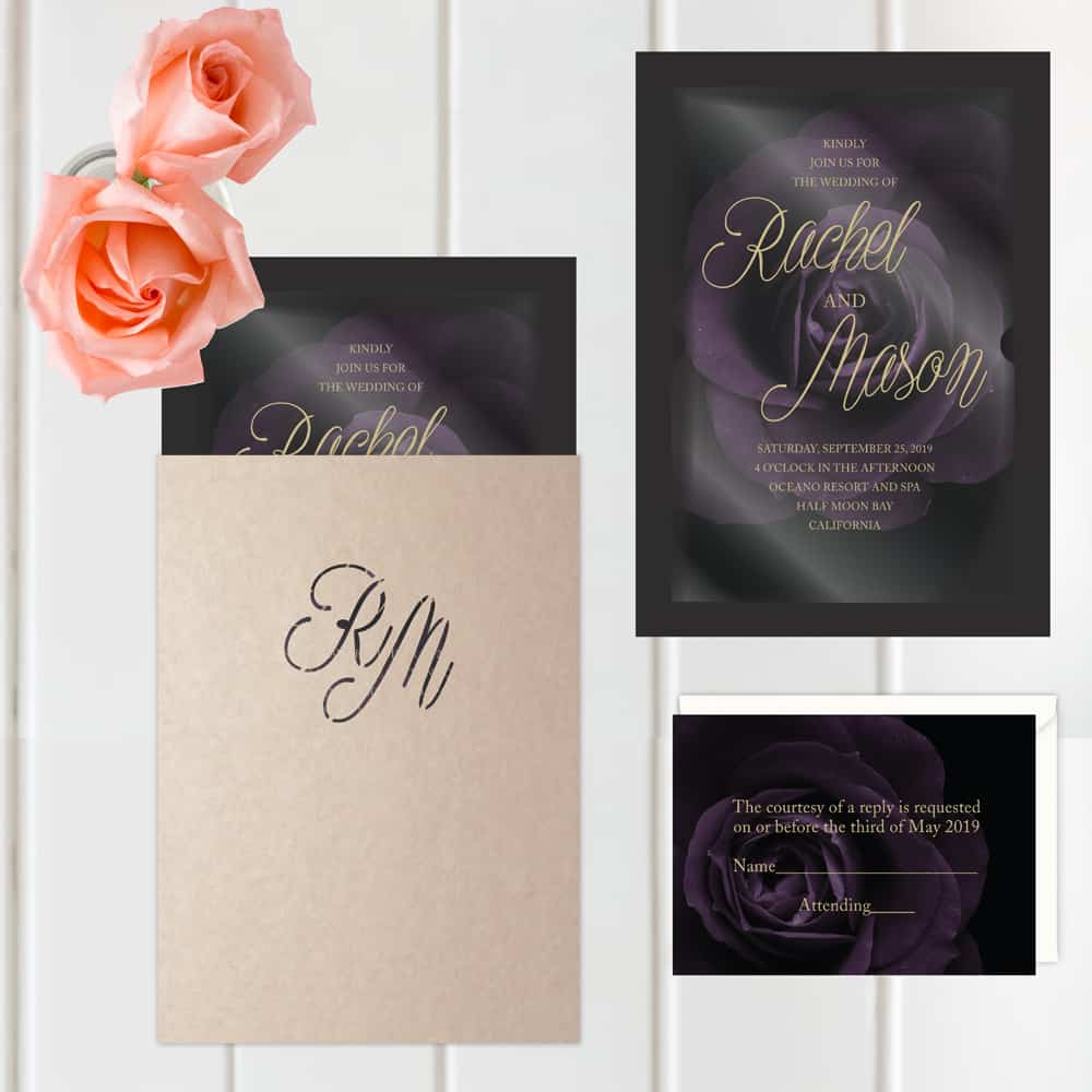 Regina Craft Velvet Rose Wedding Invitation