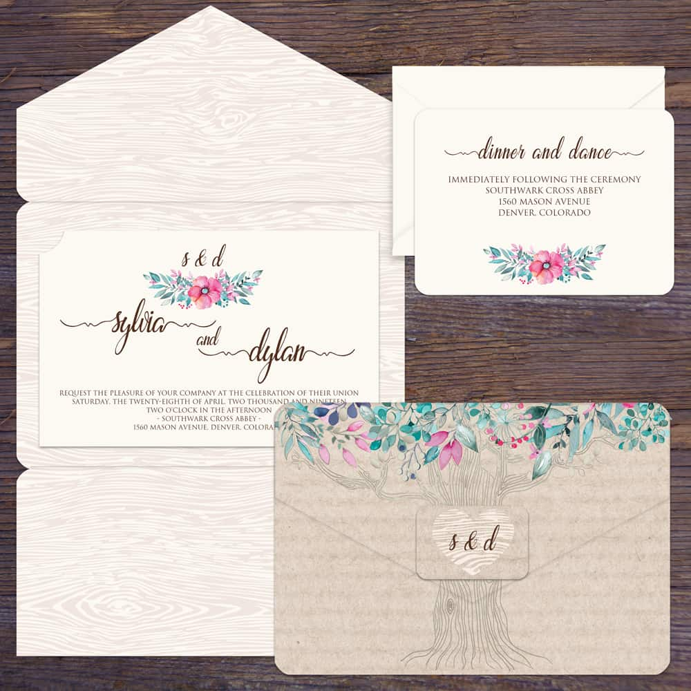 Regina Craft Woodgrain Nature Wedding Invitation