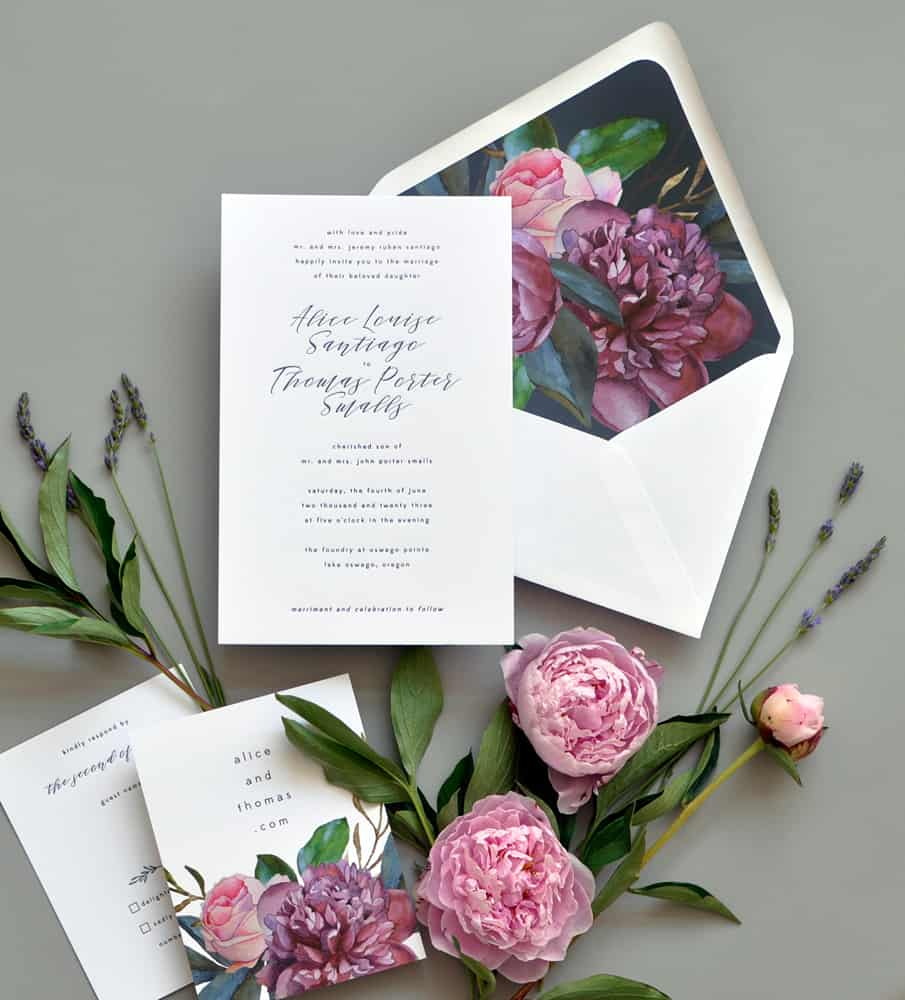 "Smitten On Paper ""Alice"" Peony Wedding Invitation"
