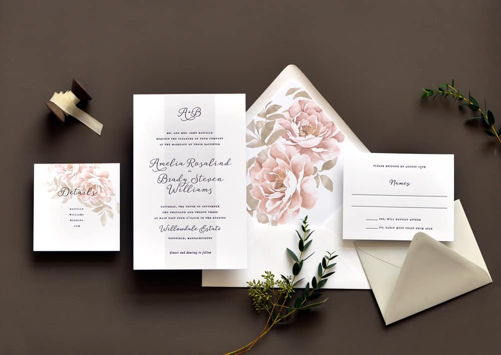 "Smitten On Paper ""Amelia"" Floral Wedding Invitation"