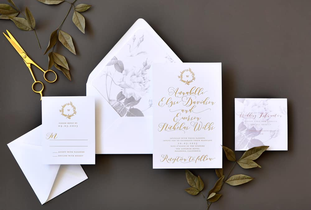 "Smitten On Paper ""Annabelle"" Foil and Floral Wedding Invitation"