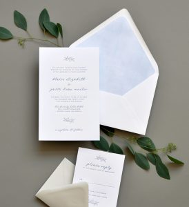 "Smitten On Paper ""Blaire"" Dreamy Blue Letterpress Wedding Invitation"