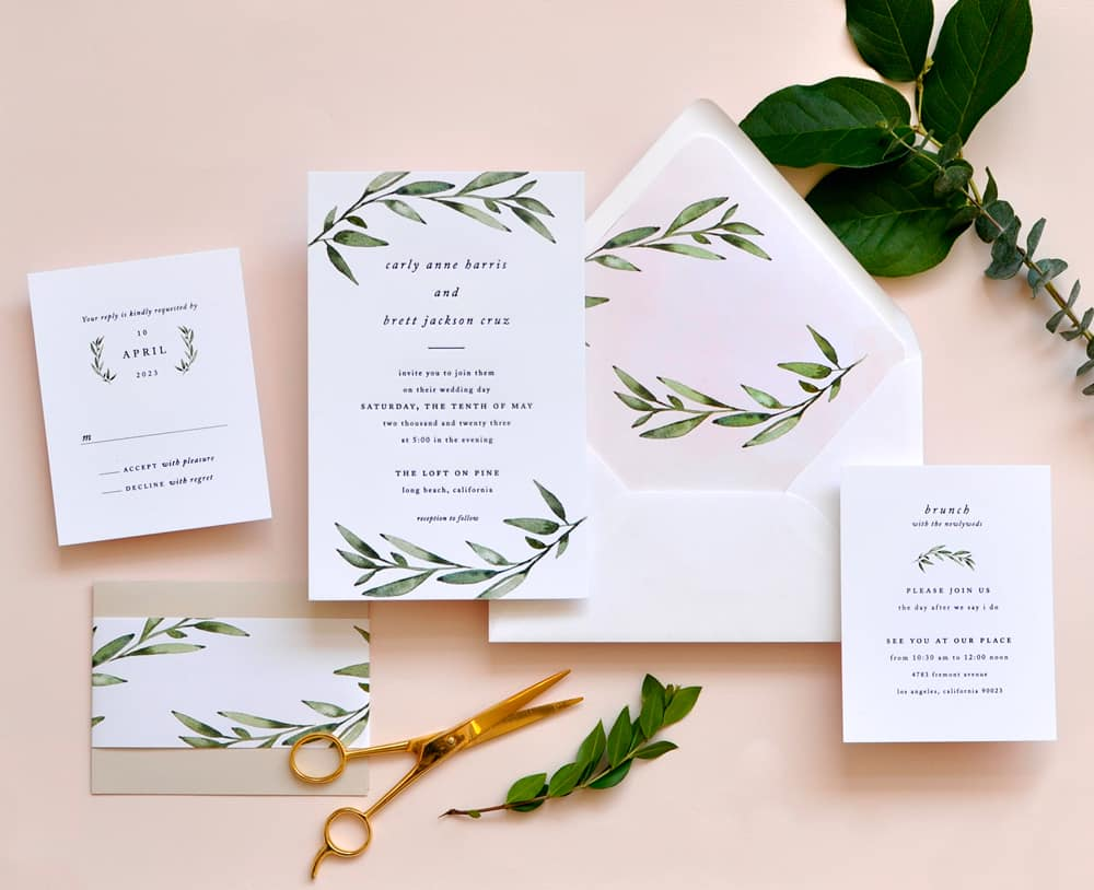 "Smitten On Paper ""Carly"" Greenery Wedding Invitation"