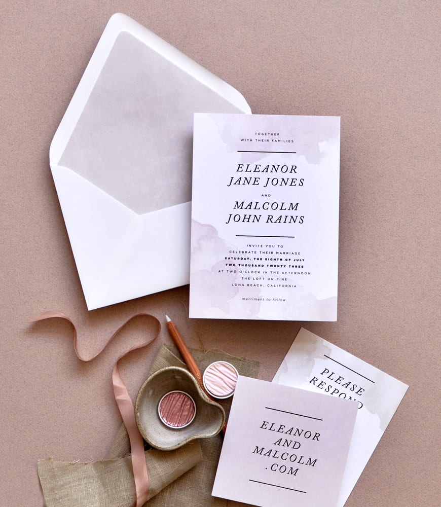 "Smitten On Paper ""Dipped Ink"" Wedding Invitation"