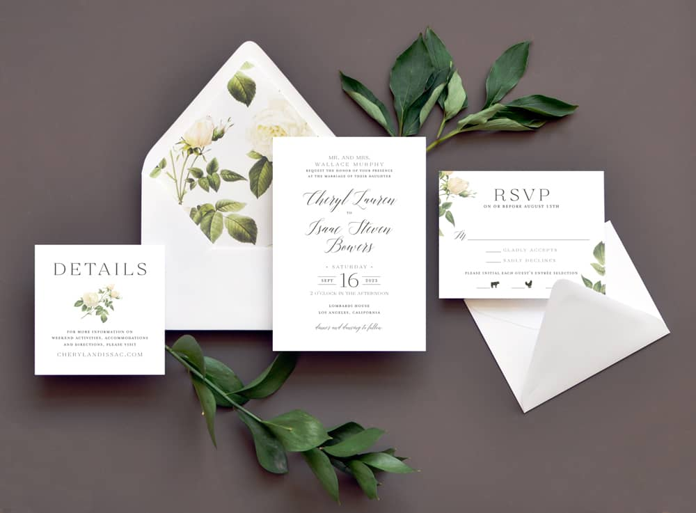 "Smitten On Paper ""Elegant Floral"" Wedding Invitation"