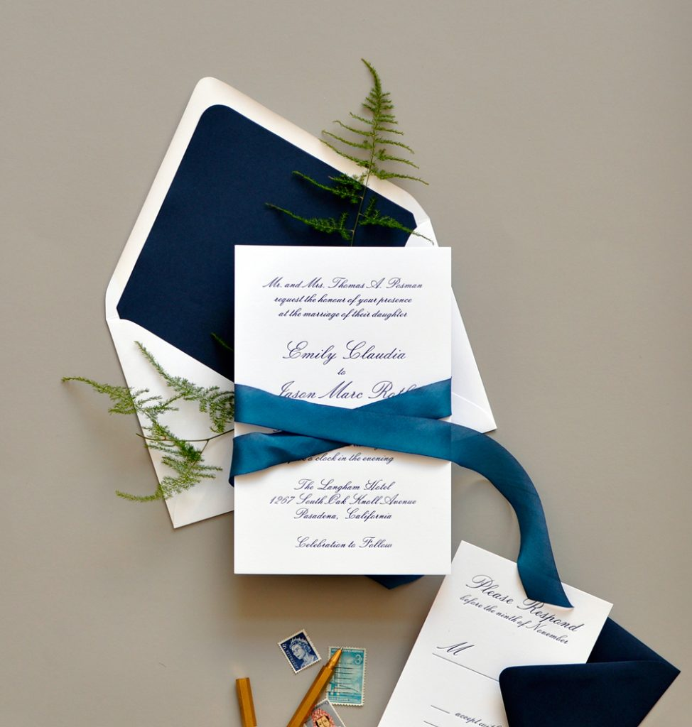 "Smitten On Paper ""Emily"" Navy Letterpress Wedding Invitation"