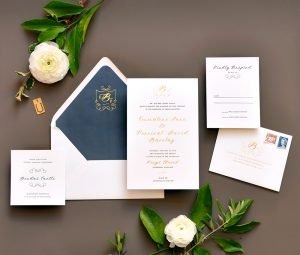 "Smitten On Paper ""Emmaline"" Gold Foil Monogram Wedding Invitation"