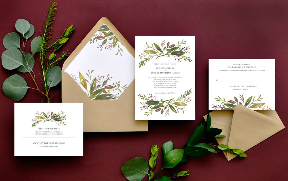 "Smitten On Paper ""Harvest Garden"" Wedding Invitation"