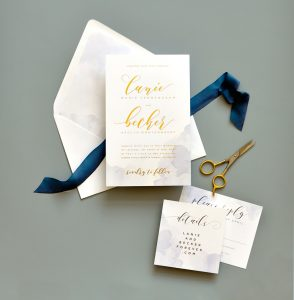 "Smitten On Paper ""Lanie"" Gold Foil and Watercolor Wedding Invitation"