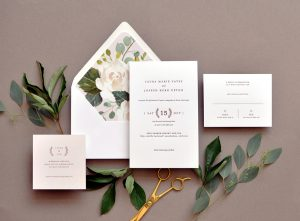 "Smitten On Paper ""Laura"" Floral Envelope Liner Wedding Invitation"