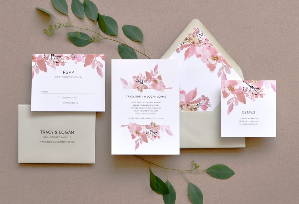 "Smitten On Paper ""Love Abloom"" Floral Wedding Invitation"