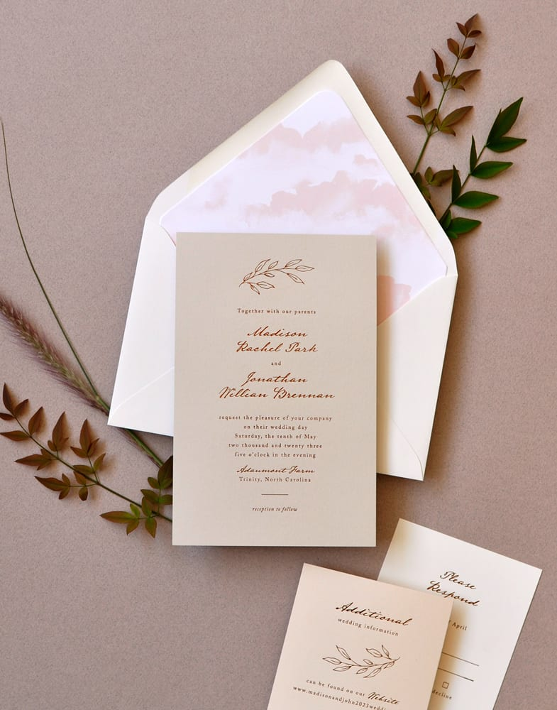 "Smitten On Paper ""Madison"" Neutral Foil Wedding Invitations"