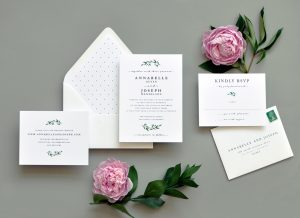"Smitten On Paper ""Modern Greens"" Wedding Invitation"