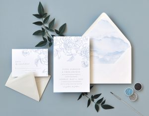 "Smitten On Paper ""Pippa"" Dreamy Letterpress Peony Wedding Invitation"