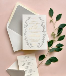 "Smitten On Paper ""Rebecca"" Greenery Wreath Wedding Invitation"