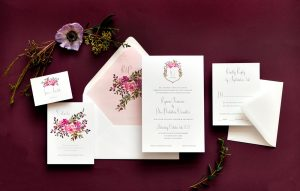 "Smitten On Paper ""Ryanne"" Floral Monogram Crest Wedding Invitation"