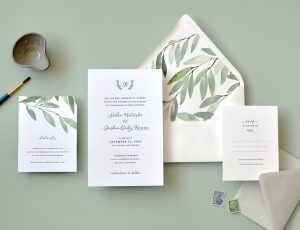 "Smitten On Paper ""Sadie"" Watercolor Greenery Envelope Liner Wedding Invitation"