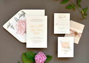 "Smitten On Paper ""Sawyer"" Floral Gold Foil Wedding Invitation"