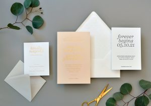 "Smitten On Paper ""Simone"" Gold Foil on Blush Wedding Invitation"