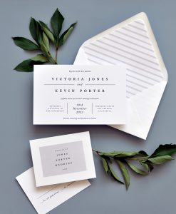 "Smitten On Paper ""Victoria"" Modern Letterpress Wedding Invitation"