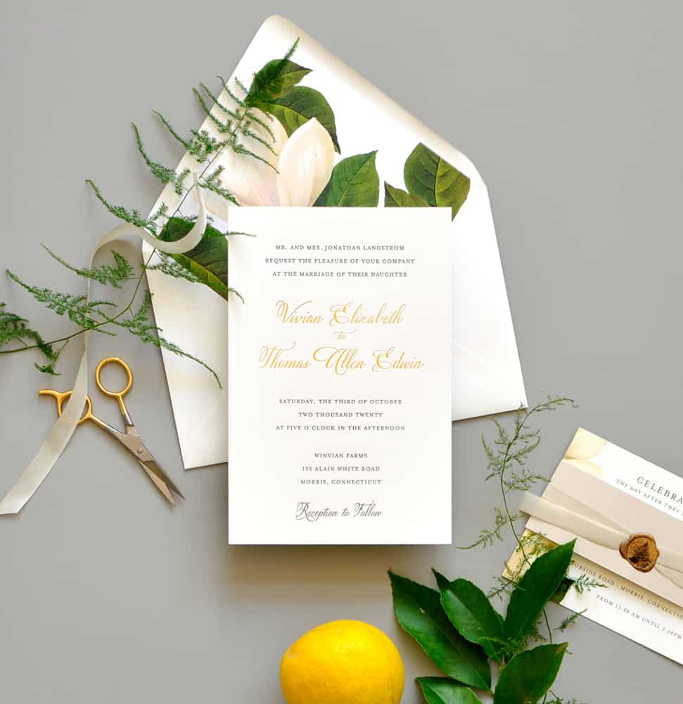 "Smitten On Paper ""Vivian"" Gold Foil Wedding Invitation"