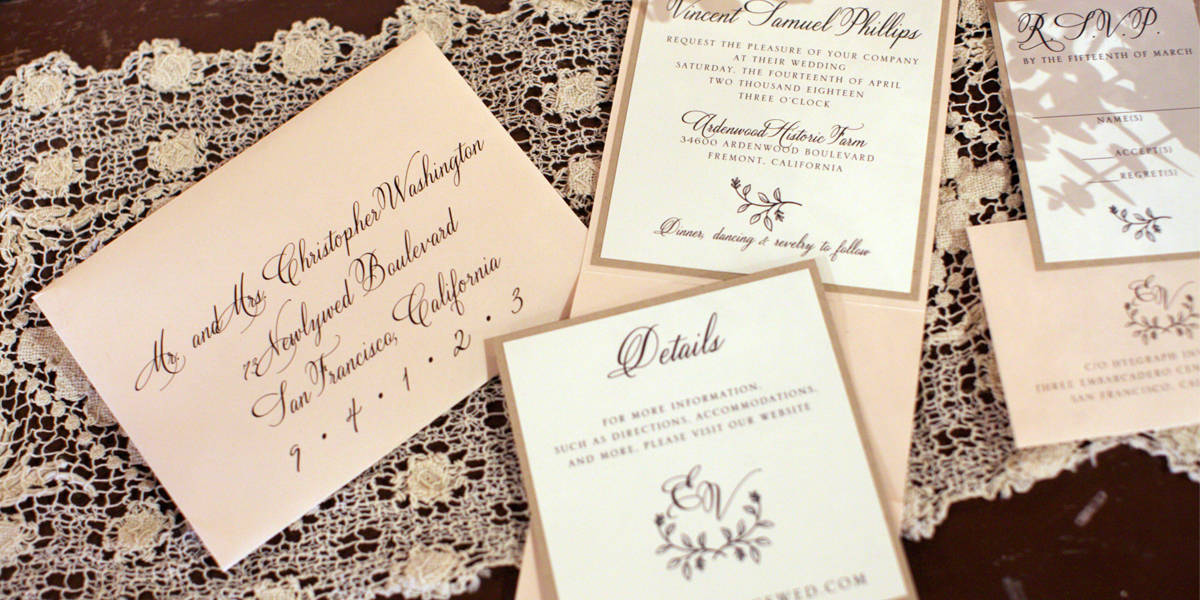 Digital Calligraphy on Rustic Lace Blush Wedding Invitations