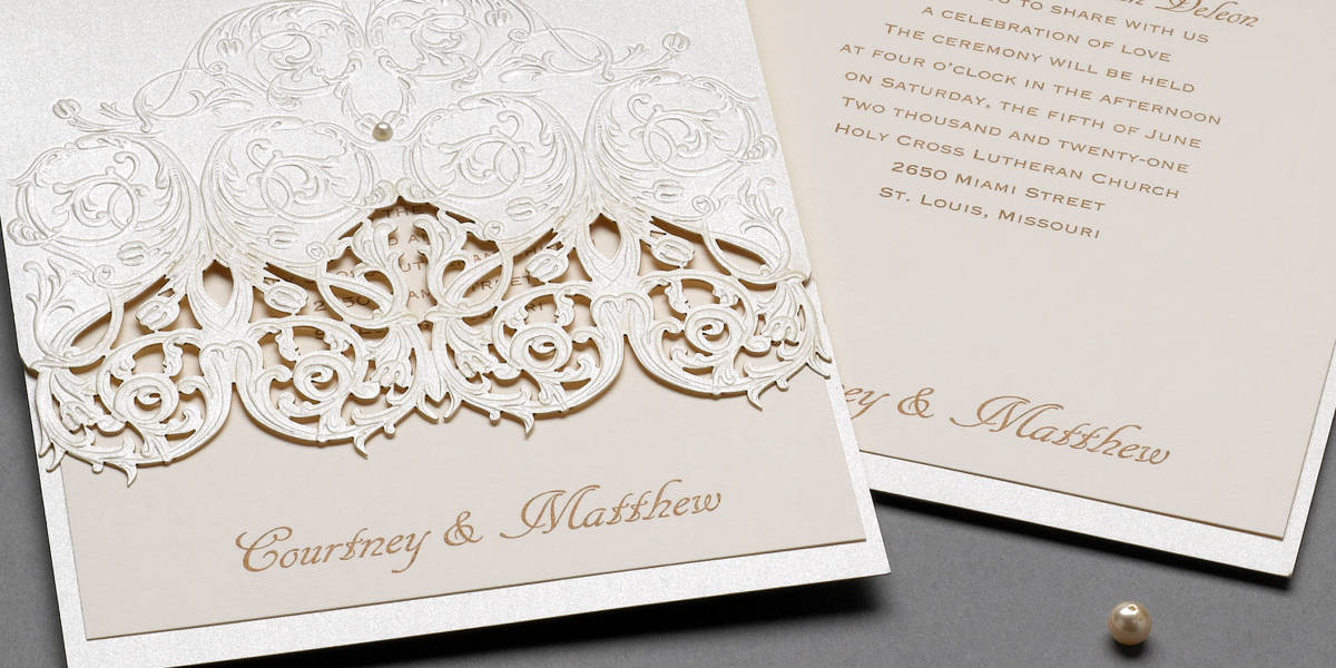 Custom Shimmer Laser Cut Wedding Invitation with Pearl