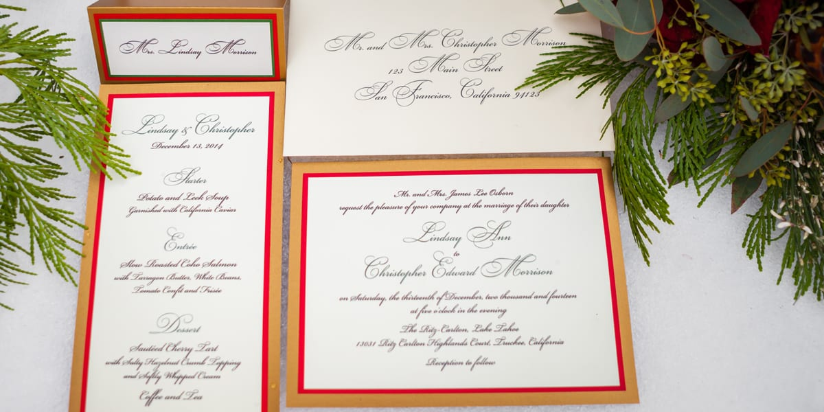 Gold, REd and Hunter Green Wedding Invitations