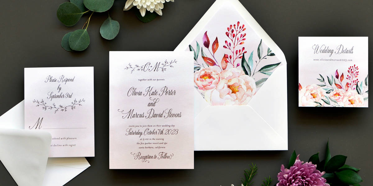 Smitten on Paper Olivia Custom Watercolor Floral Wedding Invitations