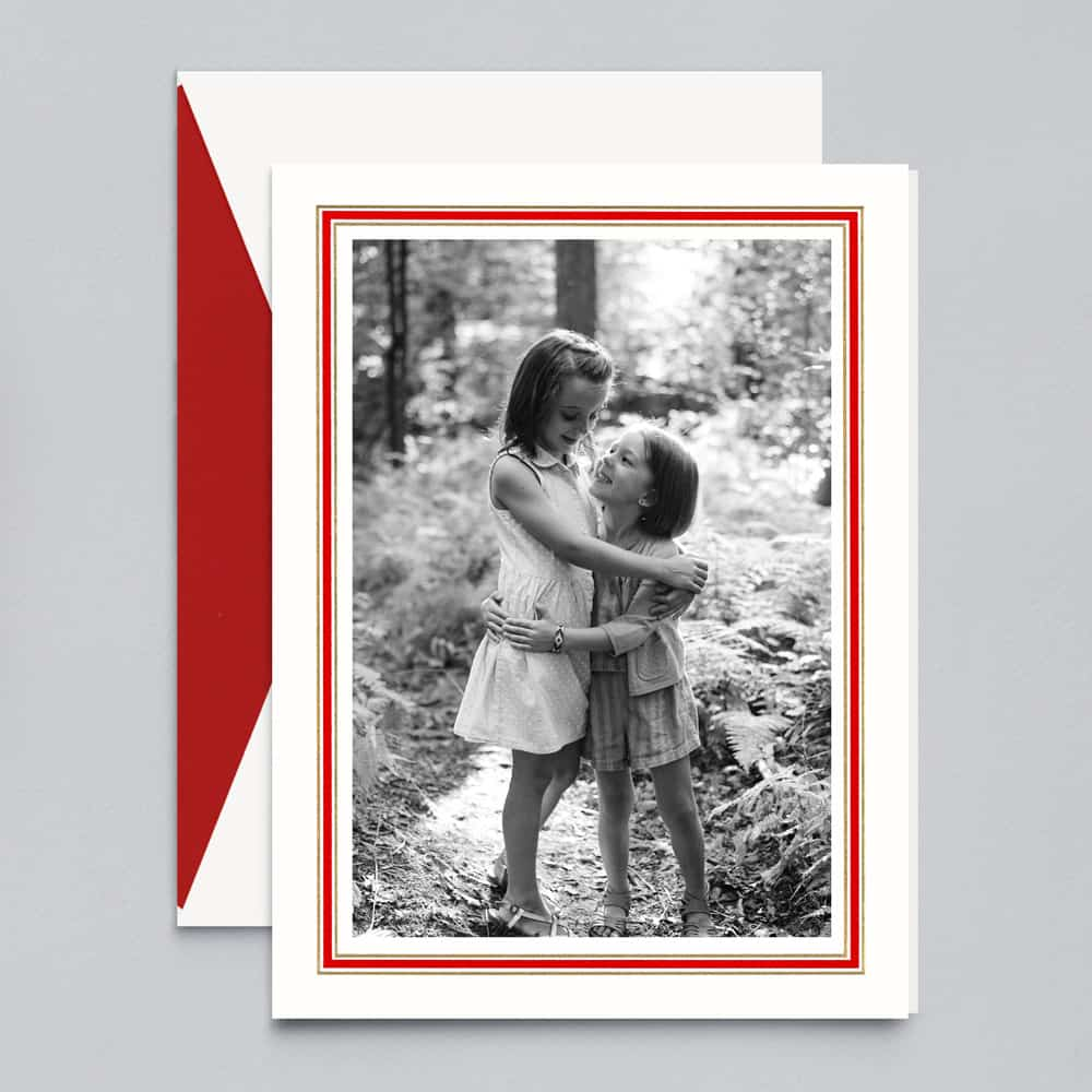 Crane & Co. | Red and Gold Frame Photo Card