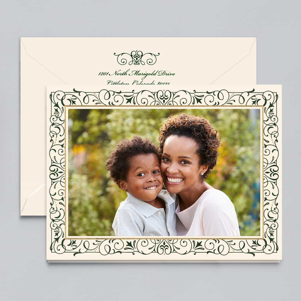 Crane & Co. | Green and Gold Scroll Photo Card