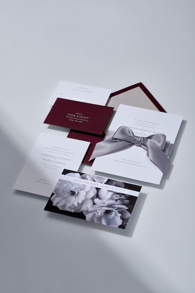 Vera Wang | Fluorescent White and Merlot Invitation Suite