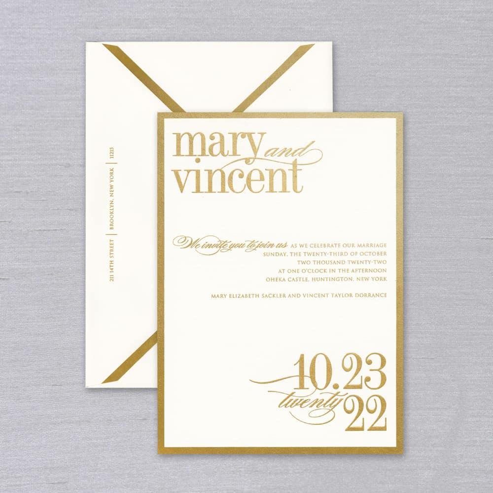 Vera Wang | Gold Bordered Invitation