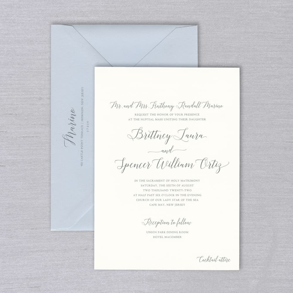 Vera Wang | Oyster and Mist Invitation Suite