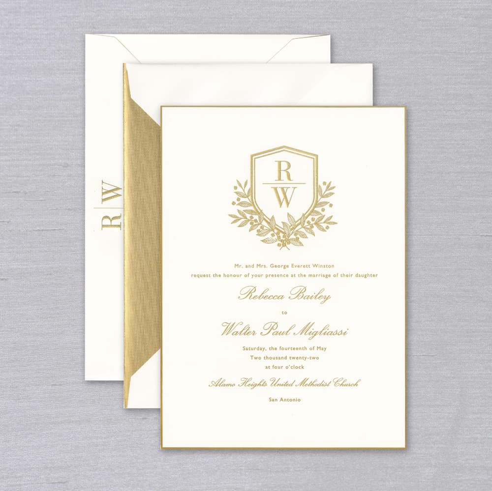 Vera Wang | Oyster With Gold Trim Invitation Suite