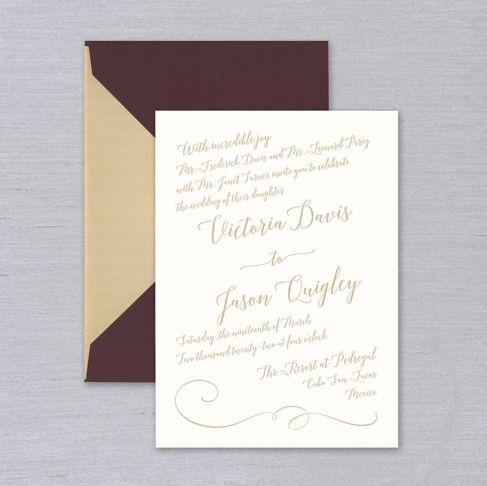 Vera Wang | Textured Oyster Diagonal Invitation