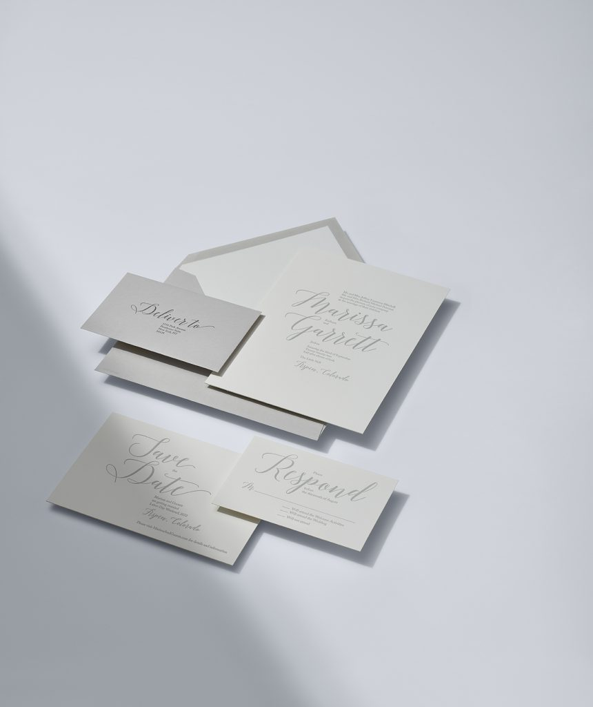 Vera Wang | Textured Oyster Invitation Suite