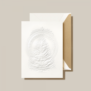 Crane | Blind Embossed Tree Medallion Holiday Card