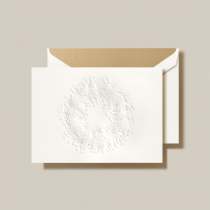 Crane | Blind Embossed Wreath Holiday Card