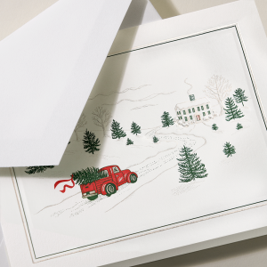 Crane | Bringing Home The Tree Holiday Card